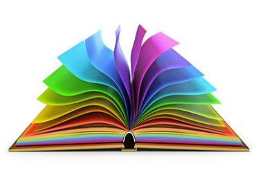 open book with rainbow pages