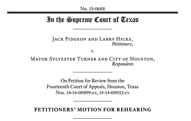 cover page of a texas supreme court case