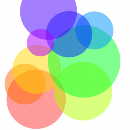 overlapping rainbow circles